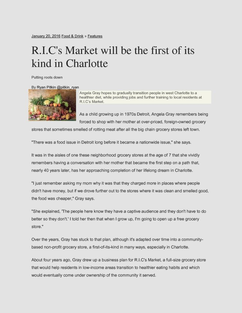 thumbnail of R.I.C's Market will be the first of its kind in Charlotte _ Features _ Creative Loafing Charlotte